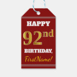 [ Thumbnail: Red, Faux Gold 92nd Birthday + Custom Name Gift Tags ]