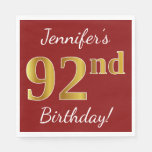 [ Thumbnail: Red, Faux Gold 92nd Birthday + Custom Name Napkin ]