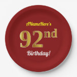 [ Thumbnail: Red, Faux Gold 92nd Birthday + Custom Name Paper Plate ]