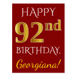 [ Thumbnail: Red, Faux Gold 92nd Birthday + Custom Name Postcard ]