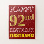 [ Thumbnail: Red, Faux Gold 92nd Birthday + Custom Name Puzzle ]