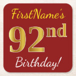 [ Thumbnail: Red, Faux Gold 92nd Birthday + Custom Name Paper Coaster ]