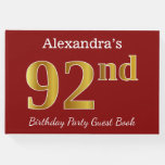 [ Thumbnail: Red, Faux Gold 92nd Birthday Party + Custom Name Guest Book ]