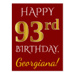 [ Thumbnail: Red, Faux Gold 93rd Birthday + Custom Name Postcard ]