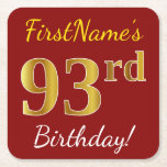 [ Thumbnail: Red, Faux Gold 93rd Birthday + Custom Name Paper Coaster ]