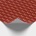 [ Thumbnail: Red, Faux Gold 93rd (Ninety-Third) Event Wrapping Paper ]