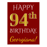 [ Thumbnail: Red, Faux Gold 94th Birthday + Custom Name Postcard ]