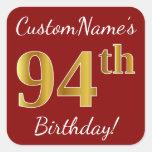 [ Thumbnail: Red, Faux Gold 94th Birthday + Custom Name Sticker ]