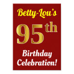 [ Thumbnail: Red, Faux Gold 95th Birthday Celebration + Name Invitation ]