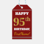 [ Thumbnail: Red, Faux Gold 95th Birthday + Custom Name Gift Tags ]