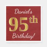 [ Thumbnail: Red, Faux Gold 95th Birthday + Custom Name Paper Napkin ]