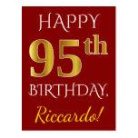 [ Thumbnail: Red, Faux Gold 95th Birthday + Custom Name Postcard ]