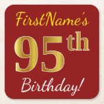 [ Thumbnail: Red, Faux Gold 95th Birthday + Custom Name Paper Coaster ]