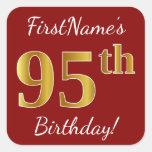 [ Thumbnail: Red, Faux Gold 95th Birthday + Custom Name Sticker ]