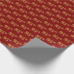 [ Thumbnail: Red, Faux Gold 95th (Ninety-Fifth) Event Wrapping Paper ]