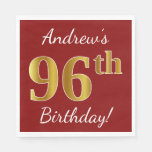 [ Thumbnail: Red, Faux Gold 96th Birthday + Custom Name Paper Napkin ]