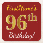 [ Thumbnail: Red, Faux Gold 96th Birthday + Custom Name Paper Coaster ]