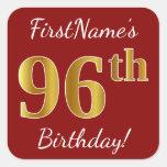[ Thumbnail: Red, Faux Gold 96th Birthday + Custom Name Sticker ]