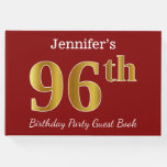 [ Thumbnail: Red, Faux Gold 96th Birthday Party + Custom Name Guest Book ]