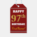 [ Thumbnail: Red, Faux Gold 97th Birthday + Custom Name Gift Tags ]