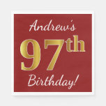 [ Thumbnail: Red, Faux Gold 97th Birthday + Custom Name Paper Napkin ]