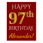 [ Thumbnail: Red, Faux Gold 97th Birthday + Custom Name Postcard ]