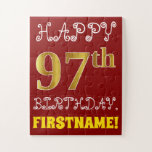 [ Thumbnail: Red, Faux Gold 97th Birthday + Custom Name Puzzle ]