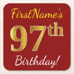 [ Thumbnail: Red, Faux Gold 97th Birthday + Custom Name Paper Coaster ]