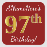 [ Thumbnail: Red, Faux Gold 97th Birthday + Custom Name Sticker ]