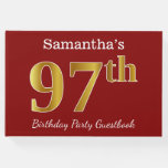 [ Thumbnail: Red, Faux Gold 97th Birthday Party + Custom Name Guest Book ]