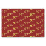 [ Thumbnail: Red, Faux Gold 97th (Ninety-Seventh) Event Tissue Paper ]