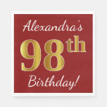 [ Thumbnail: Red, Faux Gold 98th Birthday + Custom Name Paper Napkin ]