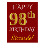 [ Thumbnail: Red, Faux Gold 98th Birthday + Custom Name Postcard ]
