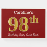 [ Thumbnail: Red, Faux Gold 98th Birthday Party + Custom Name Guest Book ]