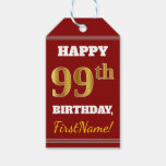[ Thumbnail: Red, Faux Gold 99th Birthday + Custom Name Gift Tags ]