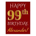 [ Thumbnail: Red, Faux Gold 99th Birthday + Custom Name Postcard ]