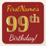 [ Thumbnail: Red, Faux Gold 99th Birthday + Custom Name Paper Coaster ]
