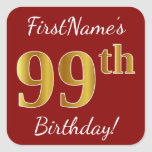 [ Thumbnail: Red, Faux Gold 99th Birthday + Custom Name Sticker ]