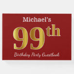 [ Thumbnail: Red, Faux Gold 99th Birthday Party + Custom Name Guest Book ]