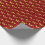 [ Thumbnail: Red, Faux Gold 99th (Ninety-Ninth) Event Wrapping Paper ]