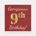 [ Thumbnail: Red, Faux Gold 9th Birthday + Custom Name Paper Napkin ]