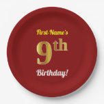 [ Thumbnail: Red, Faux Gold 9th Birthday + Custom Name Paper Plate ]