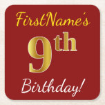 [ Thumbnail: Red, Faux Gold 9th Birthday + Custom Name Paper Coaster ]