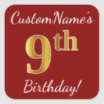 [ Thumbnail: Red, Faux Gold 9th Birthday + Custom Name Sticker ]