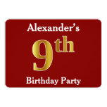 [ Thumbnail: Red, Faux Gold 9th Birthday Party + Custom Name Invitation ]