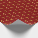 [ Thumbnail: Red, Faux Gold 9th (Ninth) Event Wrapping Paper ]