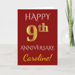 [ Thumbnail: Red, Faux Gold 9th Wedding Anniversary + Name Card ]