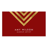 Red Faux Gold Geometric Design Makeup Artist Business Card