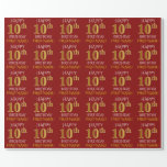 """[ Thumbnail: Red, Faux Gold """"Happy 10th Birthday"""" Wrapping Paper ]"""