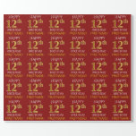 """[ Thumbnail: Red, Faux Gold """"Happy 12th Birthday"""" Wrapping Paper ]"""